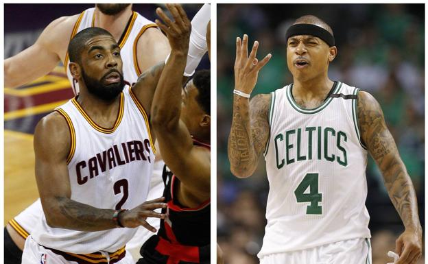 Kyrie Irving e Isaiah Thomas intercambian camisetas.