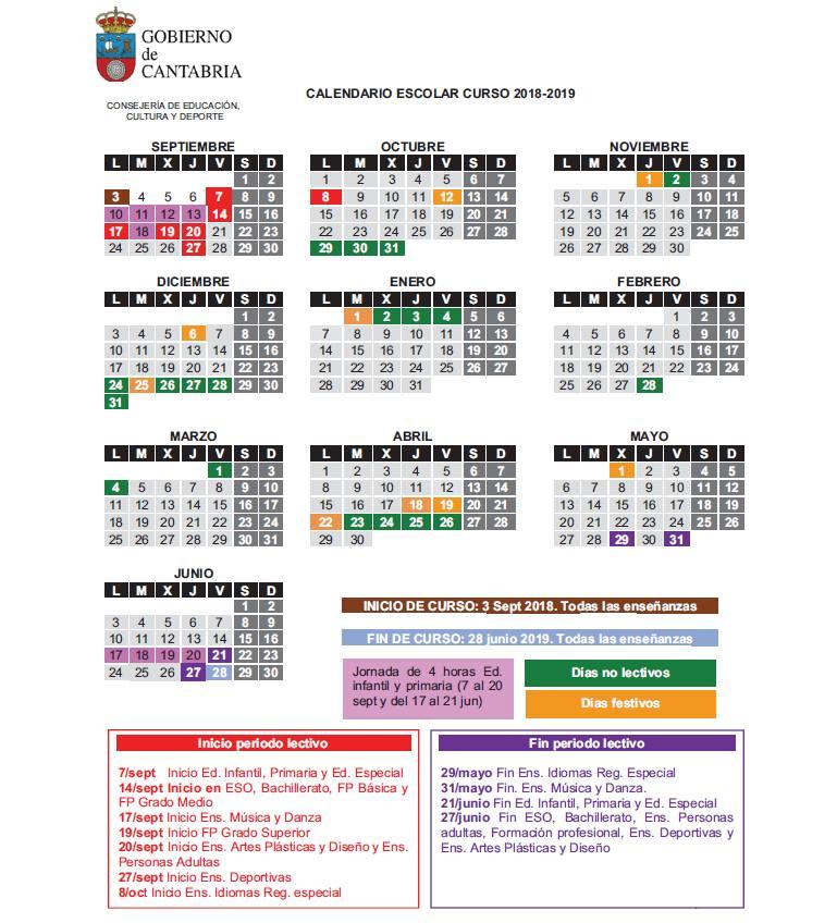 Calendario Escolar de Cantabria 2018-2019 publicado este 31 de julio en el BOC