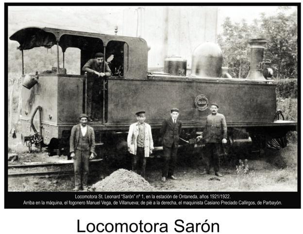 La Locomotora 'Sarón' en la estación de Ontaneda (1921-1922), instantánea que recoge el libro 'El Valle de Cayón, imágenes para el recuerdo' de Librucos./