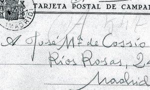 Carta. Miguel Hernández envió esta tarjeta postal, fechada en junio de 1939, a José María de Cossío desde la cárcel de Torrijos (Madrid), solicitándole ayuda. ::                             DM/